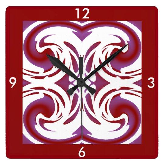 Modern Wall Clock-Home Decor -Red/Purple/White Clock