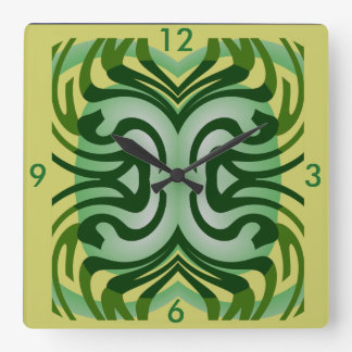 Modern Wall Clock-Home -Yellow/Green/White Square Wall Clock