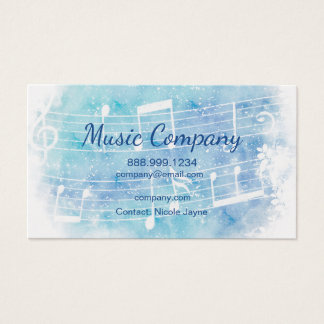 Modern Watercolor 2 Side Music Business Business Card