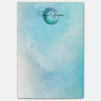 Modern Watercolor Abstract | Monogram Girly Teal Post-it Notes
