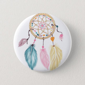 Modern watercolor boho dreamcatcher feathers 2 inch round button