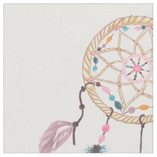 Modern watercolor boho dreamcatcher feathers fabric