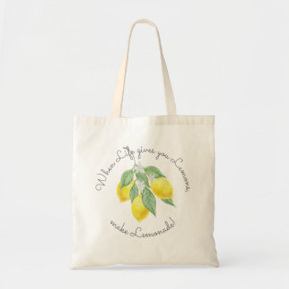 Modern Watercolor Boho Lemon Wedding Favor Tote Bag