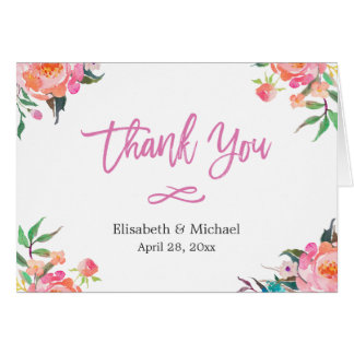 Modern Watercolor Botanical Floral Thank You Card