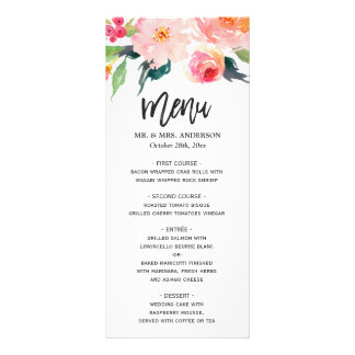 Modern Watercolor Botanical Floral Wedding Menu
