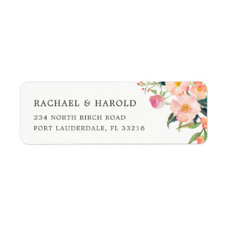 Modern Watercolor Botanical Garden Floral Return Address Label