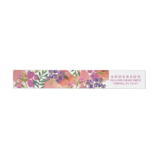MODERN WATERCOLOR BRIDAL Address Labels Wraparound Return Address Label