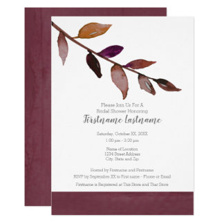 Modern Watercolor Bridal Shower Minimal Fall Leaf Card