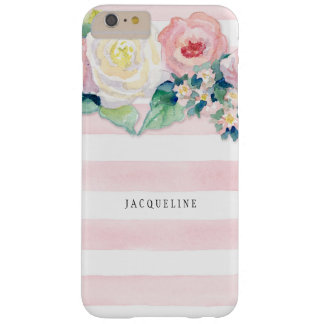 MODERN Watercolor Chic Wide Stripes w Roses Barely There iPhone 6 Plus Case