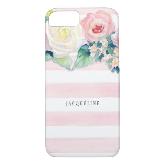 MODERN Watercolor Chic Wide Stripes w Roses iPhone 7 Case