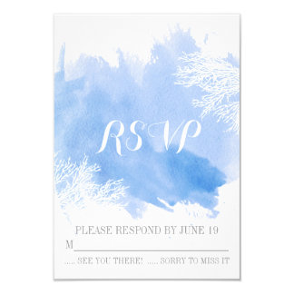 Modern watercolor coral reef blue wedding RSVP Card