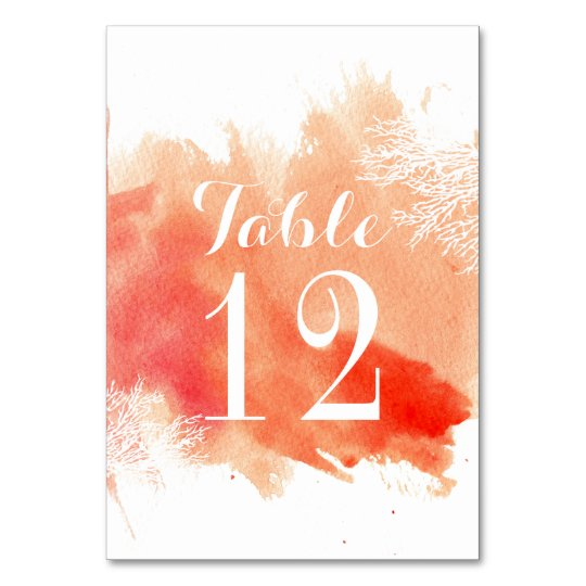 Modern watercolor coral reef wedding table number