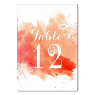 Modern watercolor coral reef wedding table number table cards