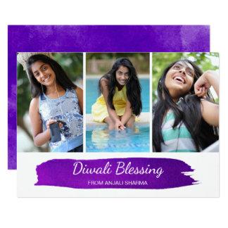 Modern Watercolor Diwali Photo Greeting Card