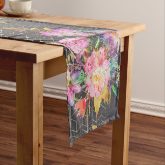 Modern watercolor floral and gold geometric cubes. short table runner