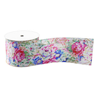 Modern watercolor floral and gold triangles grosgrain ribbon