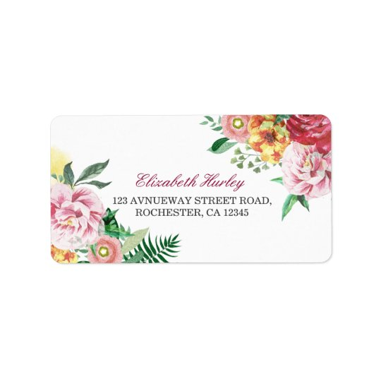 Modern Watercolor Floral Baby Shower Address Label