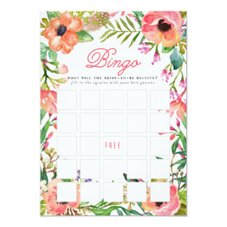 "Modern Watercolor Floral Bridal Shower Bingo Game 5"" X 7"" Invitation Card"