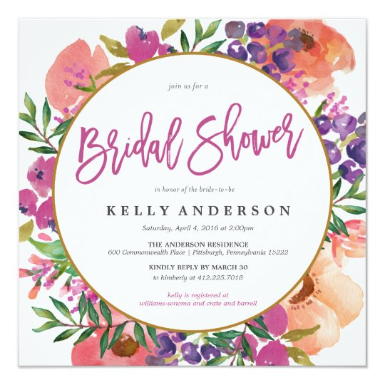 43889a341fed MODERN WATERCOLOR FLORAL bridal shower invitation