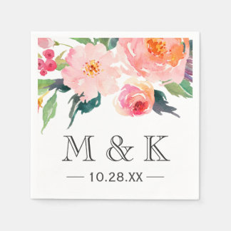 Modern Watercolor Floral Couple Monogram Wedding Paper Napkin