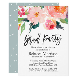 Modern Watercolor Floral Graduation Party Card