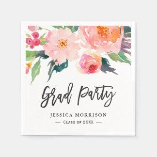 Modern Watercolor Floral Graduation Party Disposable Napkin