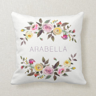 Modern Watercolor Floral | Pastel Roses with Name Throw Pillow