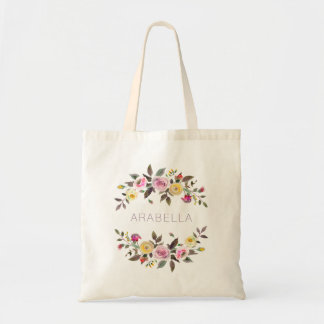 Modern Watercolor Floral   Pastel Roses with Name Tote Bag