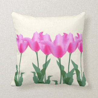 Modern Watercolor floral pink tulips flower spring Throw Pillow