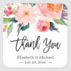 Modern Watercolor Floral Thank You Wedding Favour Square Sticker