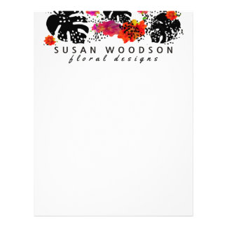 Modern Watercolor Floral Tropical Monstera Pattern Letterhead