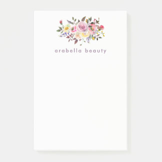 Modern Watercolor Floral with Business Name Post-it Notes