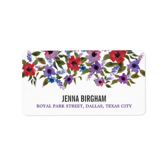 Modern Watercolor Flowers Chic Wedding Label