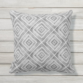 Modern watercolor geometric gray tiles outdoor pillow