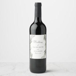 Modern Watercolor Green Leaf Wedding Wine Label
