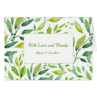 Modern Watercolor Greenery Leaves Thank You Card