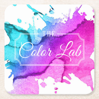 Modern Watercolor Hair Salon Hair Stylist Square Paper Coaster