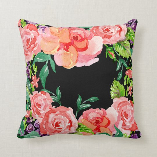 Modern Watercolor Hot Pink Black Peach Rose Floral Throw Pillow