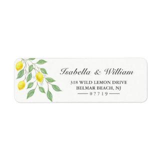 Modern Watercolor Lemon Summer Wedding Address