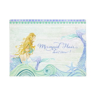 Modern Watercolor Mermaid w Waves Starfish n Wood Doormat