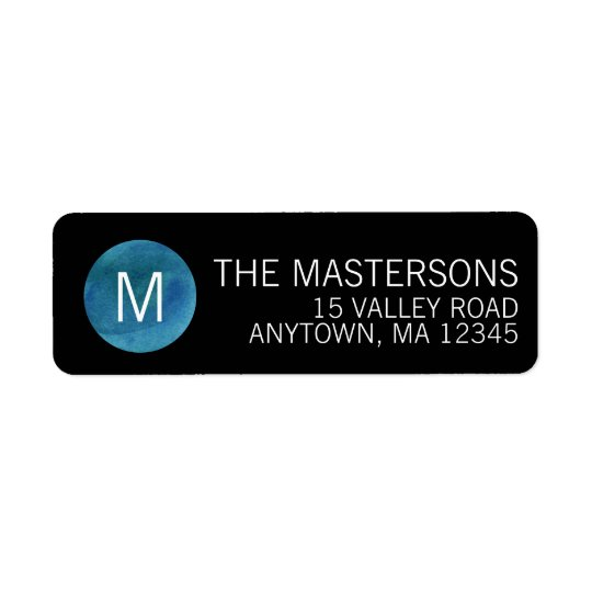 Modern Watercolor Monogram Return Address Label