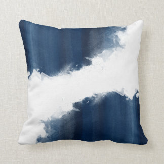 Modern Watercolor Navy Blue Pattern Throw Pillow