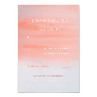 modern watercolor pink coral wedding RSVP cards