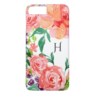 Modern Watercolor Pretty Floral Pink Lavender Rose iPhone 7 Plus Case