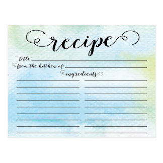 Modern Watercolor Script Bridal Shower Recipe Card Postcard
