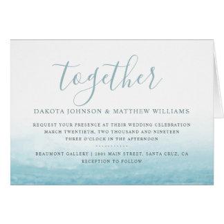 Modern Watercolor Seaside Aqua Tides Wedding Card