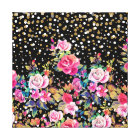 Modern watercolor spring floral and gold dots canvas print