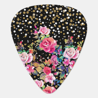 Modern watercolor spring floral and gold dots guitar pick