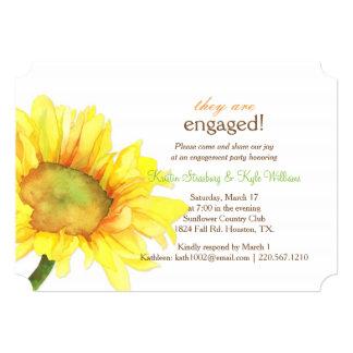 "Modern Watercolor Sunflower Wedding Engagement 5"" X 7"" Invitation Card"