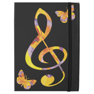 "Modern watercolor treble clef and butterflies iPad pro 12.9"" case"